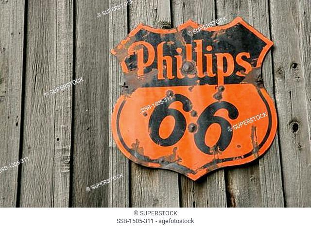 Vintage gas station sign, Phillips 66, USA
