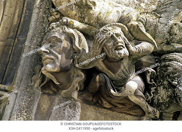 sculpture details on corbel of the west facade of the Cathedral, Laon, Aisne department, Picardy region, northern France, Europe