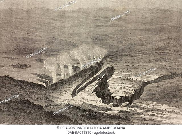 The Victoria Falls on the river Zambesi, Zambia and Zimbabwe, illustration from the magazine The Illustrated London News, volume XLIX, October 20, 1866