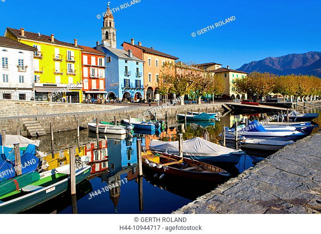Ascona, Switzerland, Europe, canton, Ticino, Lago Maggiore, houses, homes, harbour, port, boats, church, bank promenade