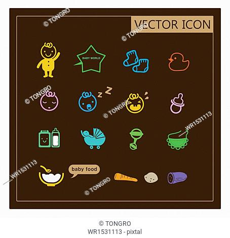 a set of vector icons related to babies