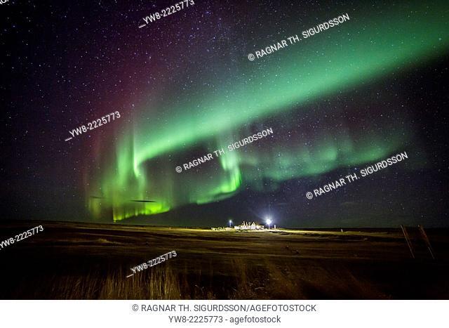 Aurora Borealis or Northern Lights by the town of Gardur, Reykjanes Peninsula, Iceland