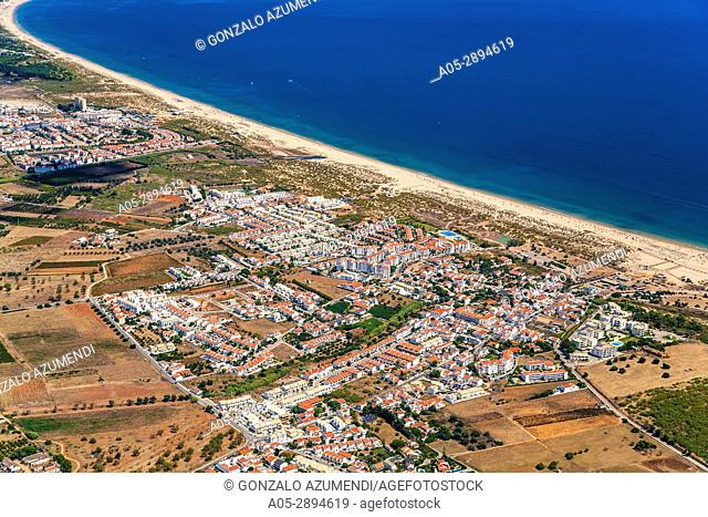Manta Rota beach. Manta Rota. In the background Altura. Ria Formosa, natural park. Faro district. Algarve. Portugal