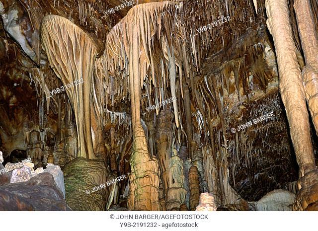 Stalactites and stalagmites at Lehman Caves, Great Basin National Park, Nevada, USA