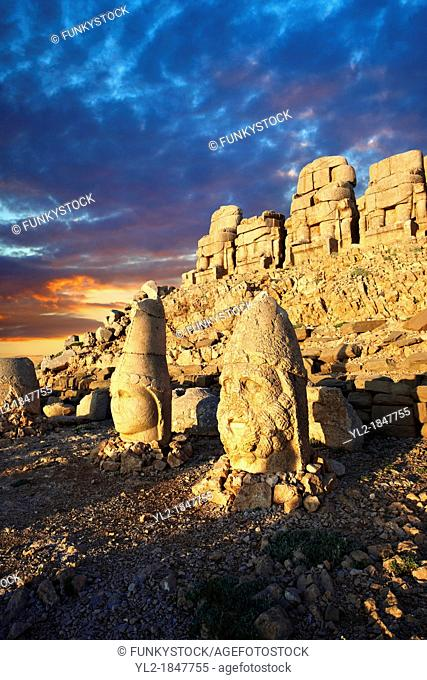 Picture & photo of the statues of around the tomb of Commagene King Antochus 1 on the top of Mount Nemrut, Turkey. Stock photos & Photo art prints