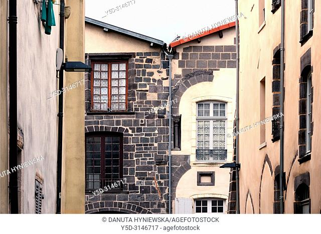 Facades of townhouses along Rue Jules Guesde seen from Rue Notre Dame, historic part of Montferrand - district of Clermont-Ferrand, Clermont-Ferrand