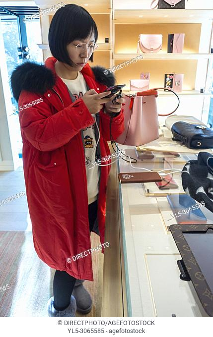Nice, France, Chinese Tourists, Shopping, Louis Vuitton LVMH luxury CLothing Store