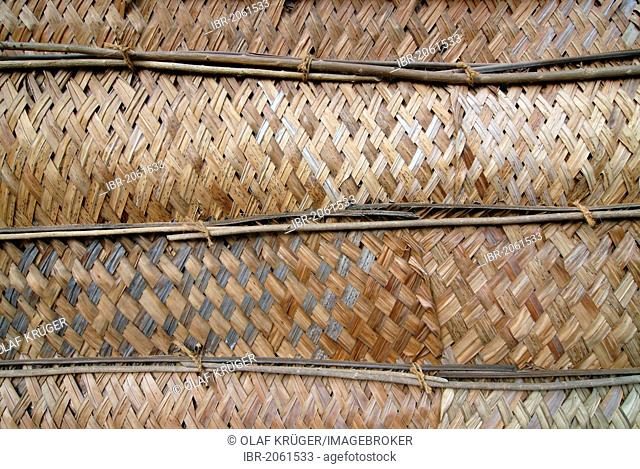 Wall of a hut made of cut and dried palm leaves, Bangaram island, Laccadives, Lakshadweep, Arabian Sea, southern India, Asia