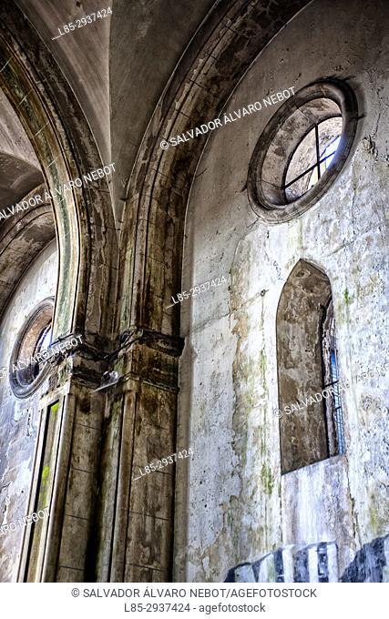 Interior of abandoned church in Vigo, Spain, Europe