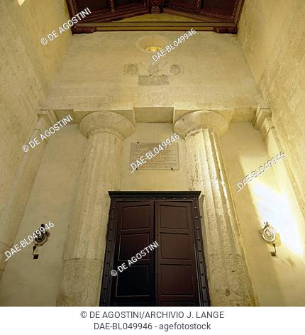 Columns of the Temple of Athena, Doric order, incorporated in the Cathedral of Syracuse (UNESCO World Heritage List, 2005), Sicily, Italy