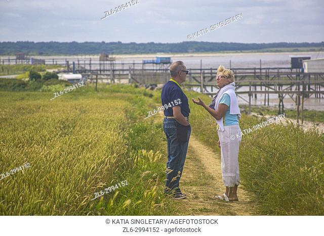 A caucasian couple in their 70's talking and arguing and explaining things, in the green wheat fields by the ocean