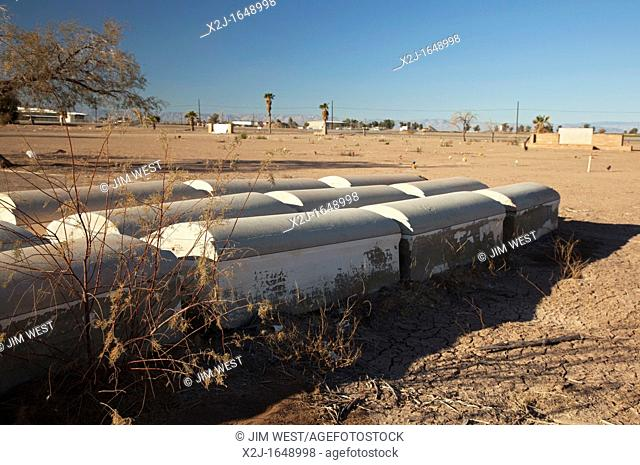 Brawley, California - The Memory Gardens Cemetery and Memorial Park, which is in foreclosure  The irrigation has been cut off  The grass and trees have died