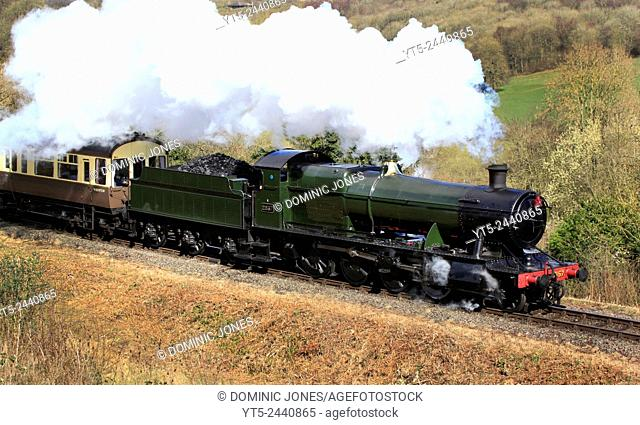 GWR Heavy Freight 2-8- 2857 powers out of Highley on the Severn Valley Railway, Shropshire, England, Europe