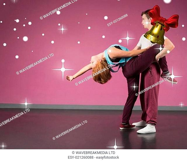 Cool break dancing couple dancing together
