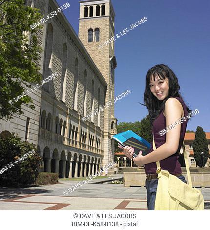 Female Asian university student on campus, Perth, Australia