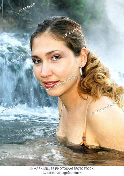 Young Russian Woman  in Hot Springs of  Yellowstone National Park, Wyoming. USA