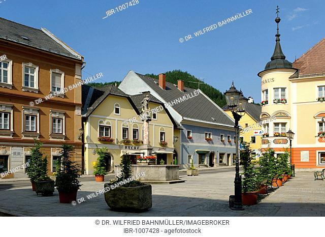 Market square with City Hall, Windischgarsten, Upper Austria, Austria, Europe