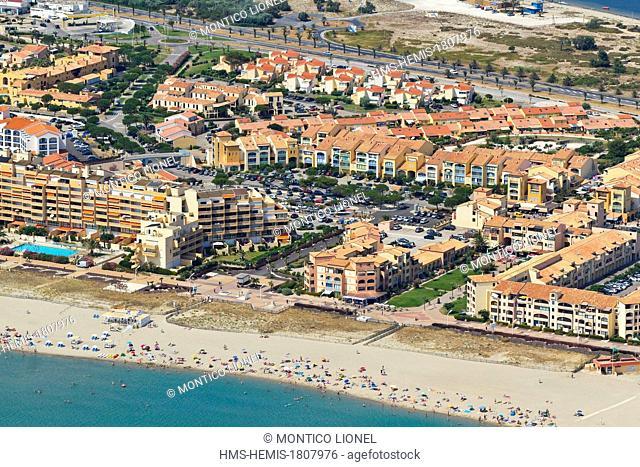 France, Aude, Corbieres, Port Leucate (aerial view)