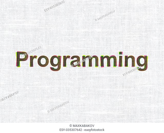 Software concept: CMYK Programming on linen fabric texture background
