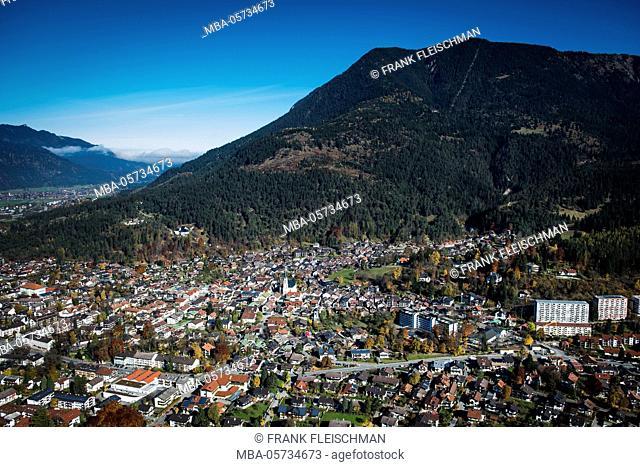 Garmisch-Partenkirchen with Wank, autumn, aerial shots, Werdenfels, uplands, Bavaria, Germany