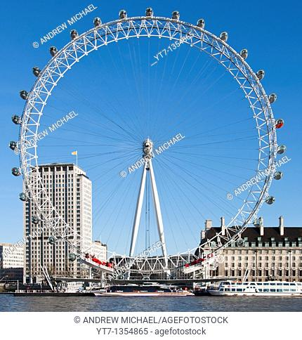The 'London Eye' or Millennium wheel, South Bank, London, UK