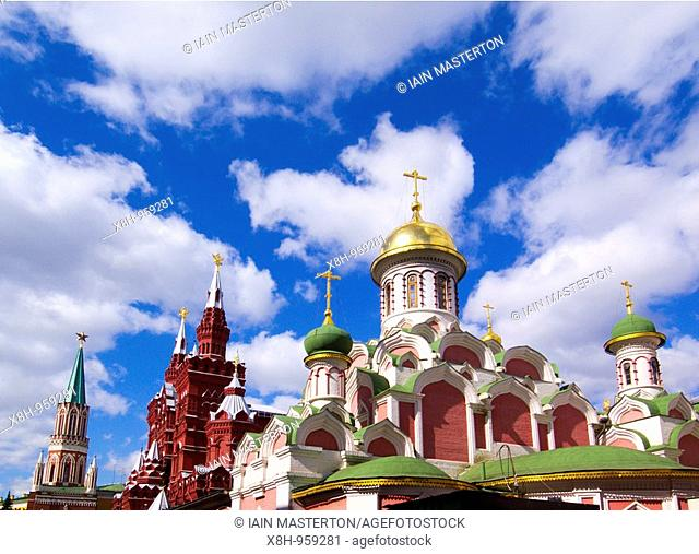 Many spires and towers of historic buildings in Red Square in Moscow