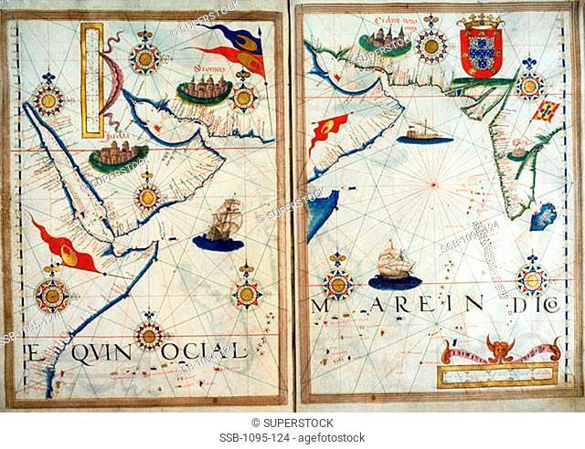 Portuguese Portolan Atlas Lopes, Sebastiano16th C.-  Newberry Library, Chicago, Illinois, USA