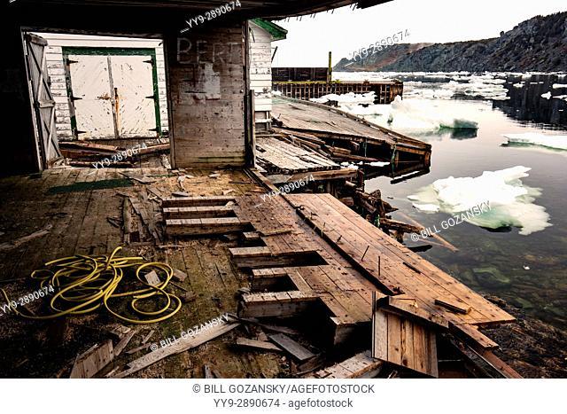 Rundown fishing stage and docks in Crow Head, Twillingate, Newfoundland, Canada
