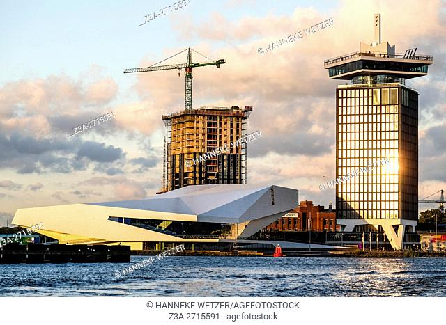 Modern architecture of the north part of Amsterdam, the Netherlands, Europe