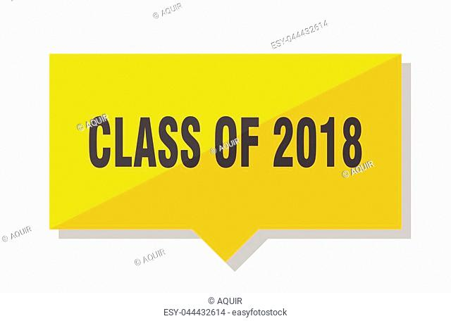 class of 2018 yellow square price tag