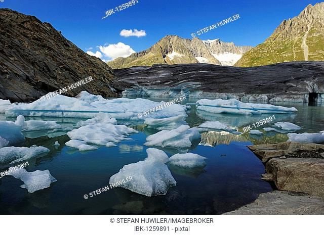 Great Aletschgletscher glacier with ice floes in the foreground, Goms, Valais, Switzerland, Europe