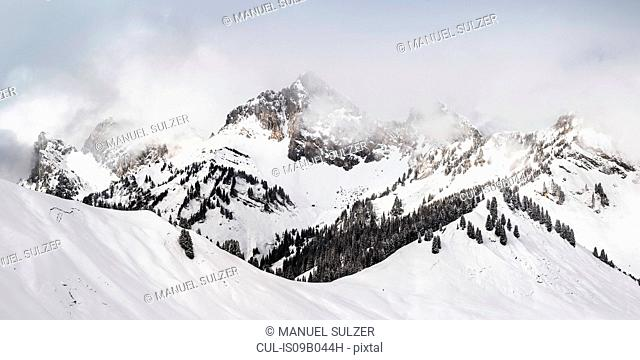 Snow covered mountain landscape, Reutte, Tyrol, Austria