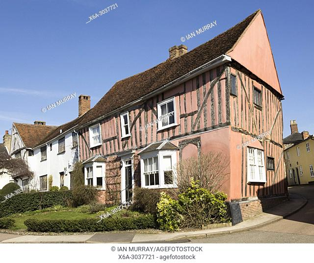 Historic half-timbered building house called Cordwainers, Lavenham, Suffolk, England, UK