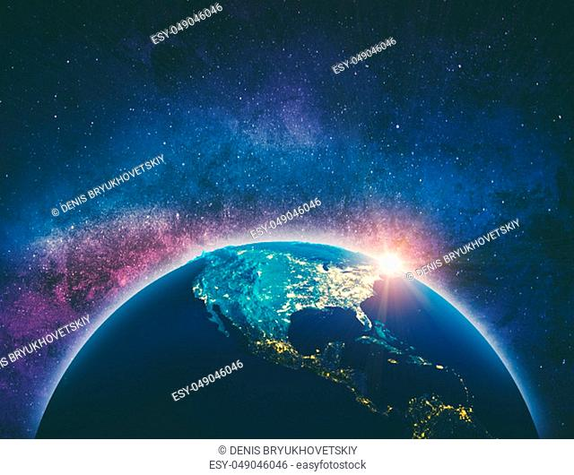 USA from space. Elements of this image furnished by NASA. 3d rendering