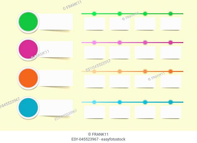 Set of four colorful circle infographic labels with rectangles ready for your text. Colorful timelines with white paper rectangles are ready for your text