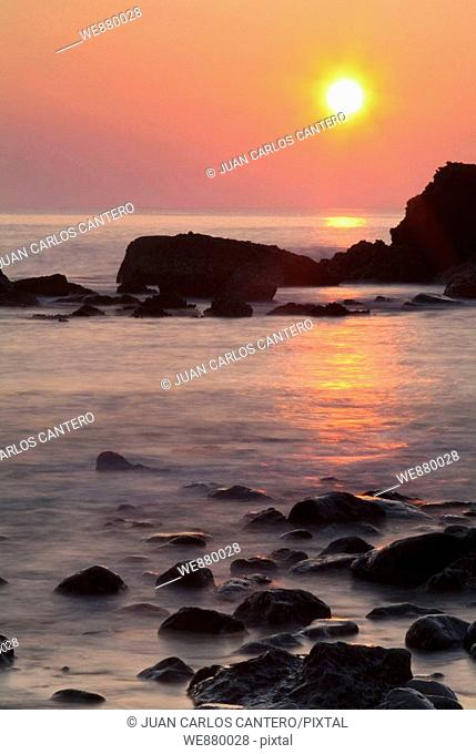 Sunset on the coast of Liencres, Cantabria. Spain