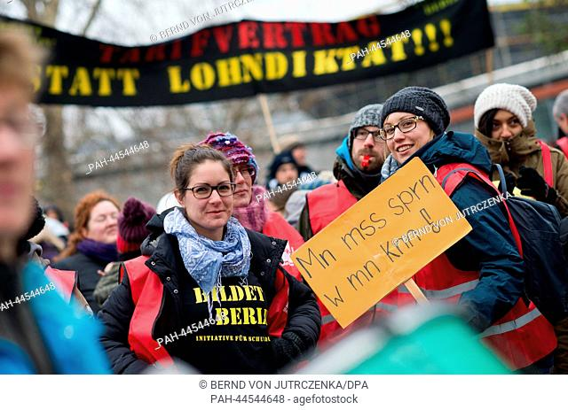 Teachers and students demonstrate during a two day warning strike in Berlin,Germany, 04 December 2013. They are striking for wage group regulations for...
