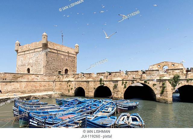 Fishing boats and historical Essaouira harbour, Morocco