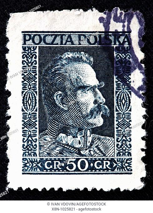 Jozef Joseph Pielsudski, Chief of State, Marshal of Poland 1918-1935, postage stamp, Poland