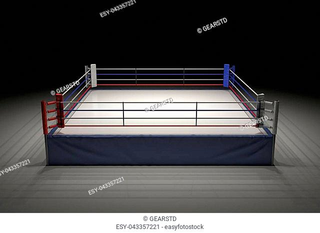 3d rendering of an empty boxing ring in the dark with its center spotlighted. Show night. Boxing match. Late night fighting competition
