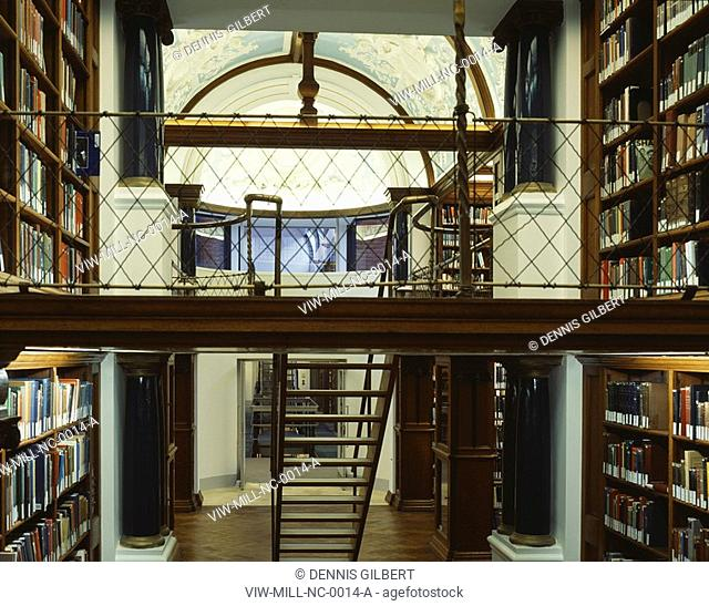 NEWNHAM COLLEGE LIBRARY, NEWNHAM COLLEGE, CAMBRIDGE, CAMBRIDGESHIRE, UK, JOHN MILLER & PARTNERS, INTERIOR, VIEW FROM BASIL CHAMPNEYS LIBRARY TO NEW BUILDING