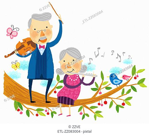 Elderly couple playing musical instruments