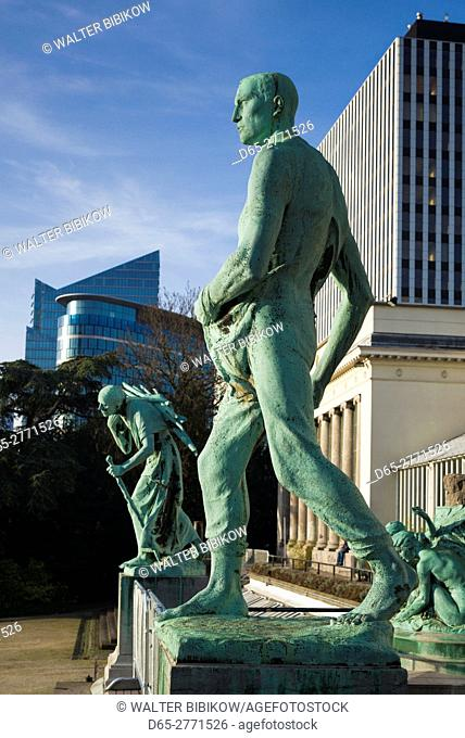 Belgium, Brussels, Jardin Botanique, Botanical Gardens, statues