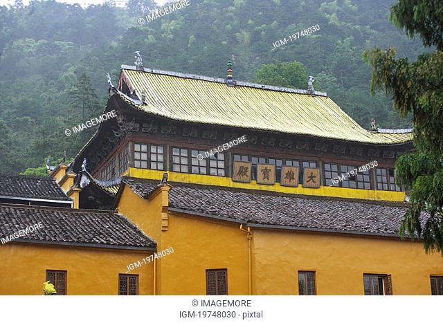 The holy hall of great hall, temple, Mt. Jiuhua, Anhui, China, Asia