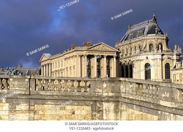 Versailles under a moody sky, Paris, France