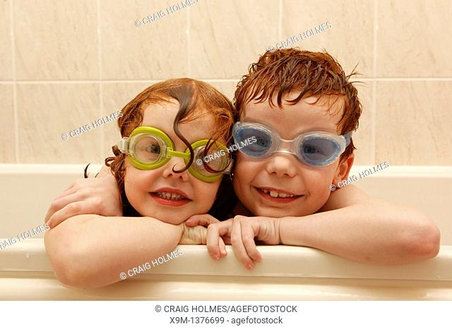 Bath time  Child wearing goggles in the bath