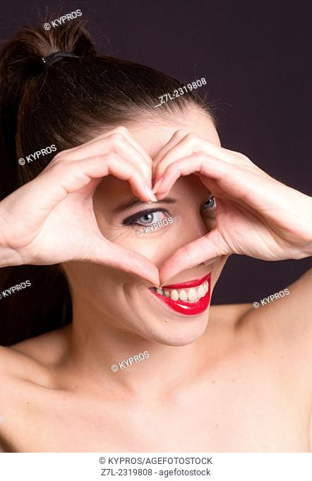 Studio Shot Beautiful Caucasian Young Woman Alone Headshot Head And Shoulders Looking At Camera Toothy Smile Happy Smiling Happiness Mouth Lips Close-Up