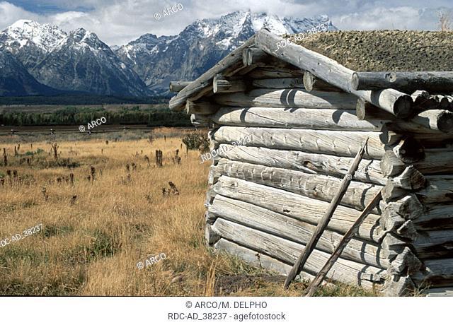 Log cabin Grand Teton national park Wyoming USA