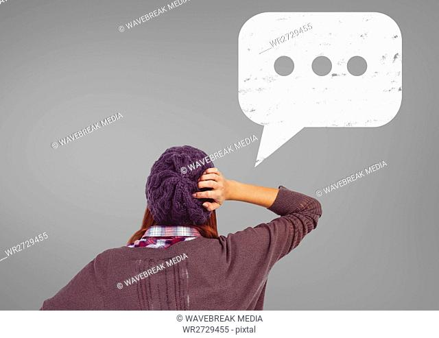Woman thinking over speech bubble icon