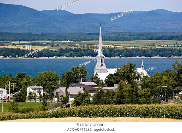 View along St. Lawrence river at St Michel, Quebec, Canada